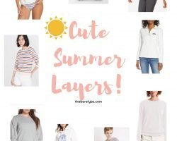 an assortment of sweaters and sweatshirts perfect for summer