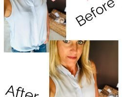 A flat chested women in a lightweight blue and white collared sleeveless button up shirt displaying a before and after comparison of cup gapping and the bra cover solution smoothing the appearance of the bra underneath the shirt.