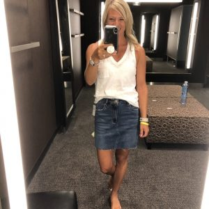 Amy in a jean skirt and white tank top from the Nordstrom anniversary sale