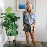 blonde woman in a chambray button down shirt with olive green highwaisted shorts by jack bb Dakota