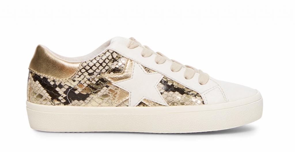 Steve Madden Sienna Multi Snake sneaker with white leather, snakeskin, and a white star