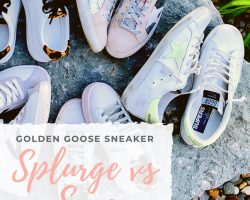 golden goose, tretorn, jcrew and amazon sneakers on a large rock outside.