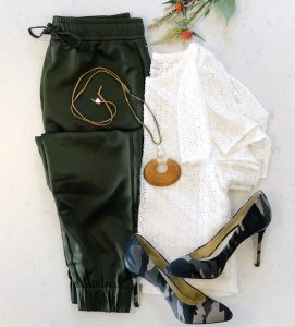 flat lay with Banana Republic olive green silk joggers and Madewell Crochet Flutter Sleeve top and Jessica Simpson Camo heels