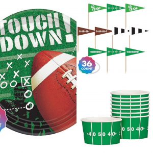 football paper plates, toothpicks, and bowls