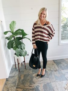 Target Wild Fable striped chenille sweater with black Paige Verdugo jeans and black Sam Edelman high heels