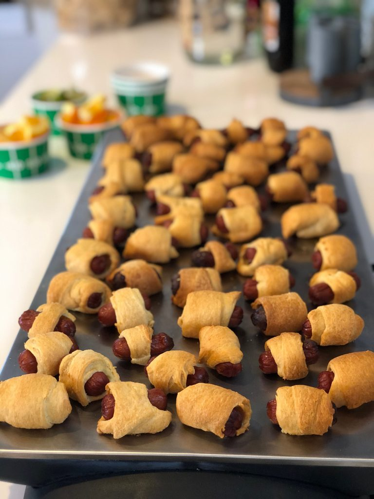 pigs in a blanket on a warming tray