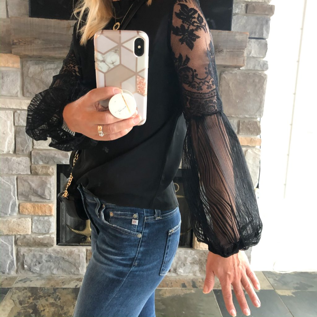 Amazon black top with lace sleeves