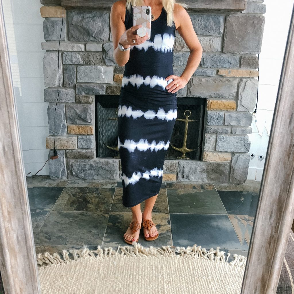 Amazon black and white tie dye racerback maxi dress
