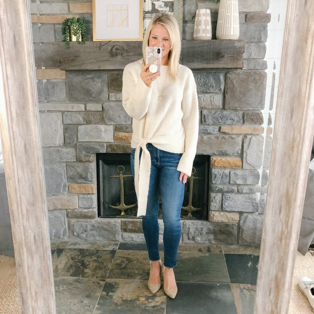Lifestyle Blogger, The Barely B's, wearing a Target cream sweater, blue jeans, and tan Sam Edelman heels
