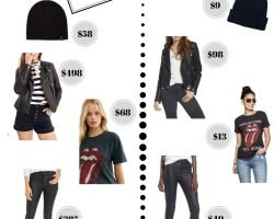 Collage of women's clothing choices to wear to a concert
