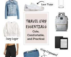 a collage of Travel Day Essentials including clothes and electronics
