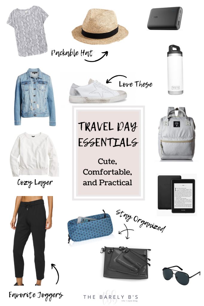 Collage of Travel Day Essentials l
