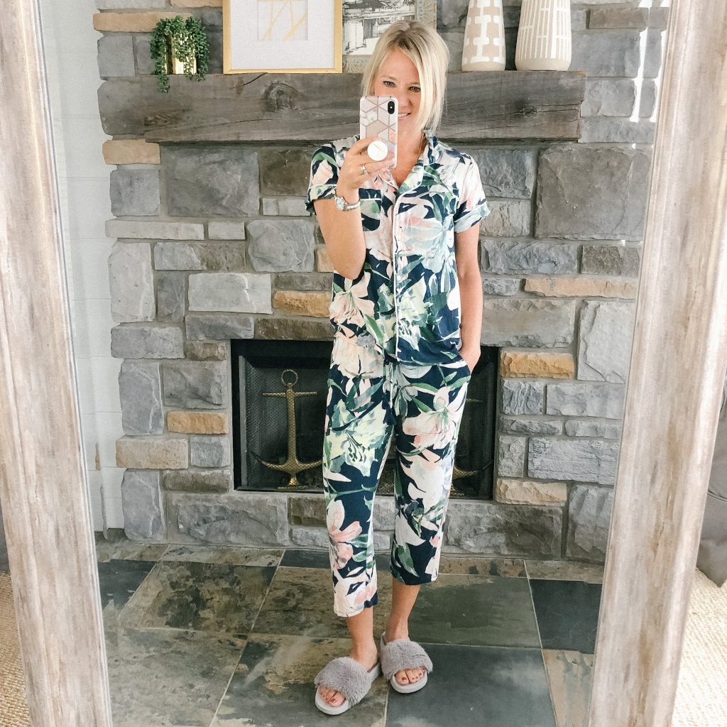 Lifestyle blogger, The Barely B's, wearing Target floral summer pajamas