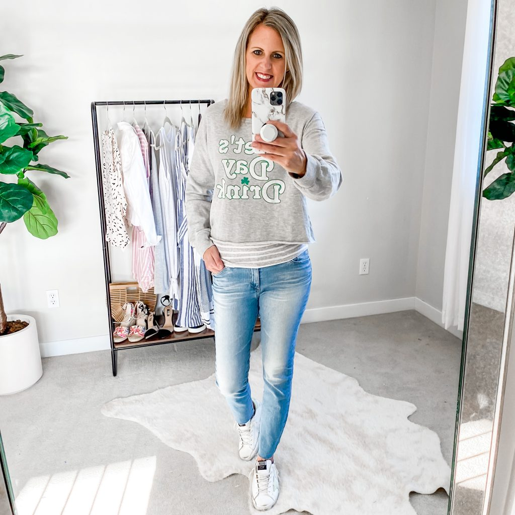 Lifestyle Blogger, The Barely B's, in a St. Patrick's Day sweatshirt from Target