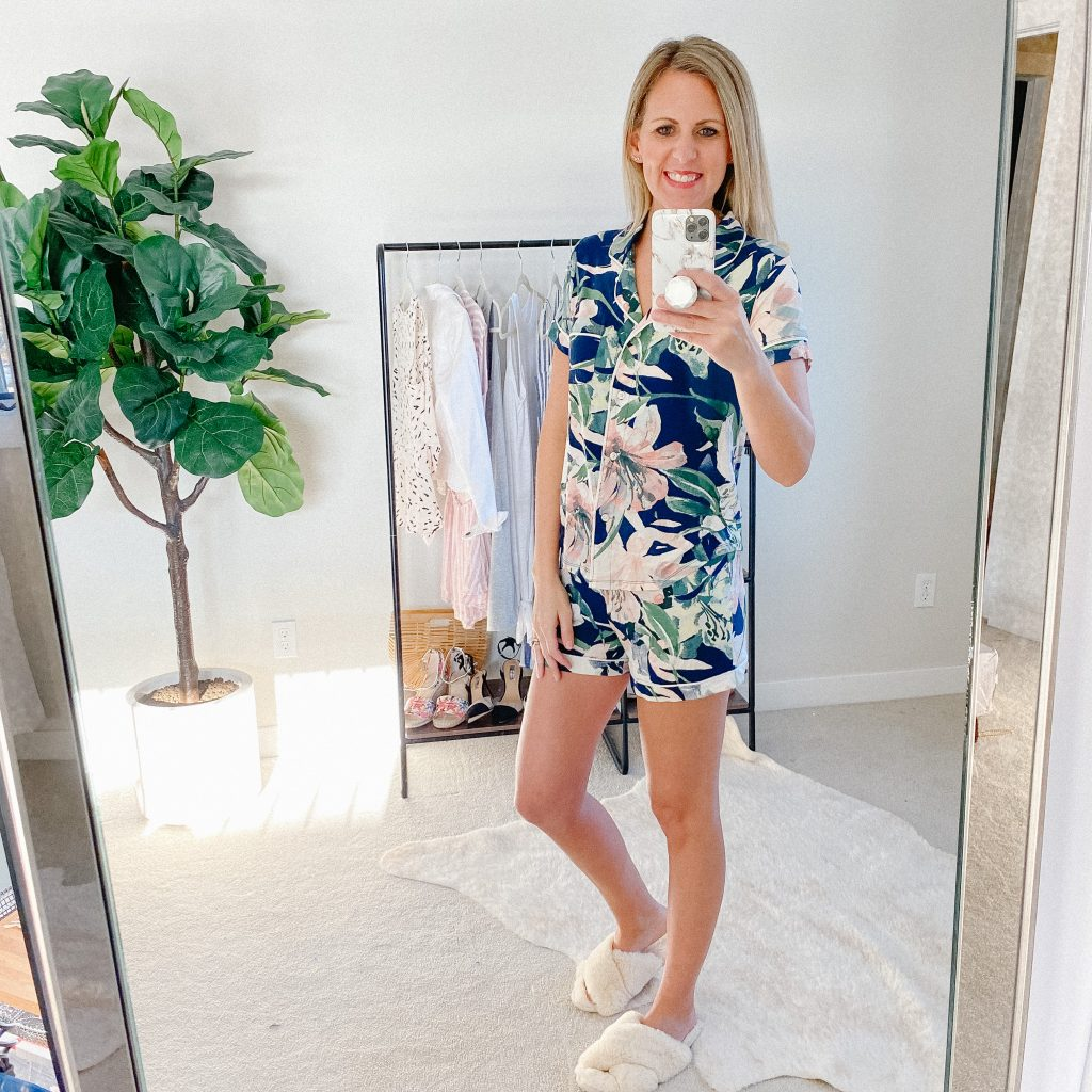 Lifestyle Blogger, The Barely B's, in Target floral pajamas